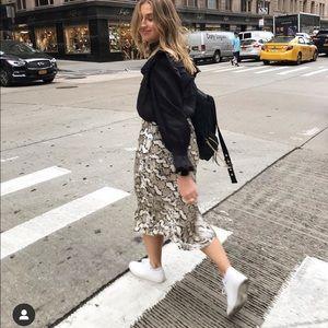 H&M snake print midi skirt